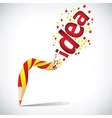 creative pencil with red idea isolate on white vector image