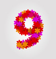 floral numbers colorful flowers number 9 vector image