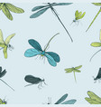 seamless pattern with different dragonfly hand vector image