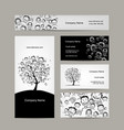 business cards design people tree vector image vector image