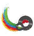 Rainbow and vinyl records vector image