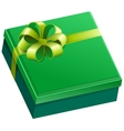 Green square gift box vector image vector image