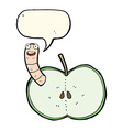cartoon apple with worm with speech bubble vector image