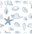 Sea shells Blue and white vector image
