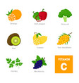 cartoon food with vitamin c elements vector image