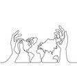 map of the earth in human hands vector image