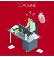 Project deadline Concept of overworked man Man vector image