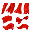 Realistic billowing red cloth vector image