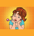 very sad vintage girl with lollipop vector image