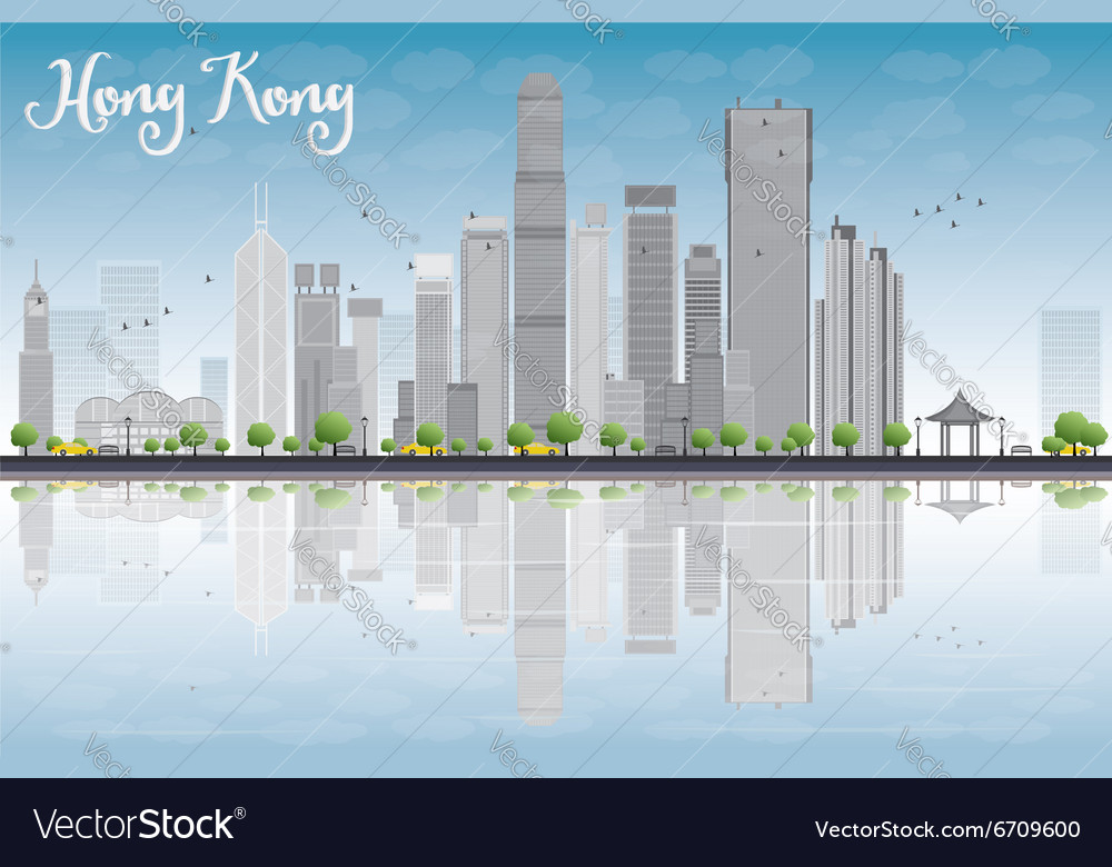 Hong kong skyline with grey buildings vector
