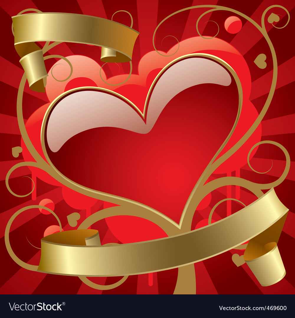 Red heart with gold banners vector
