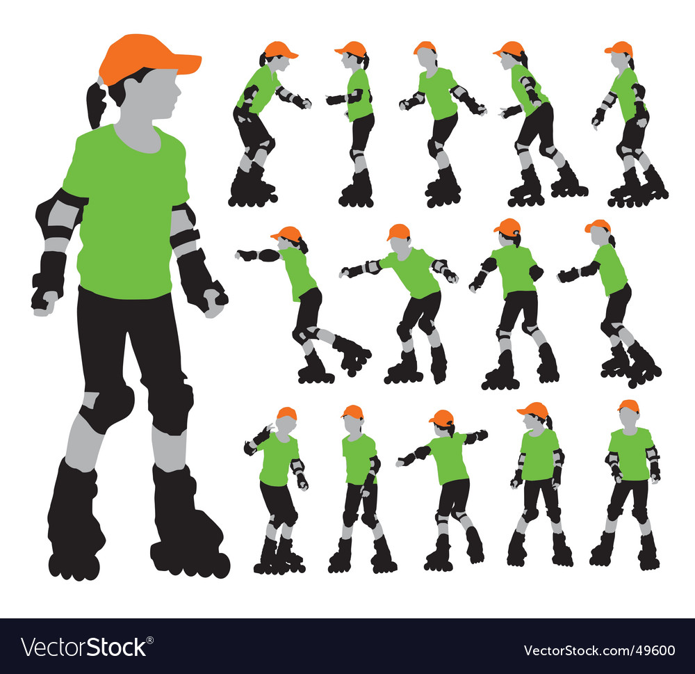 Roller girls silhouettes vector