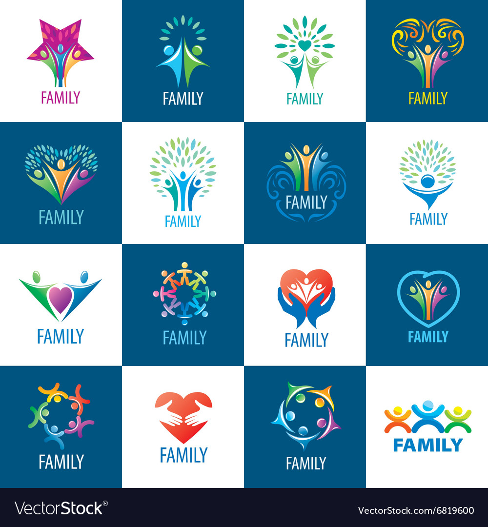Set logos family vector