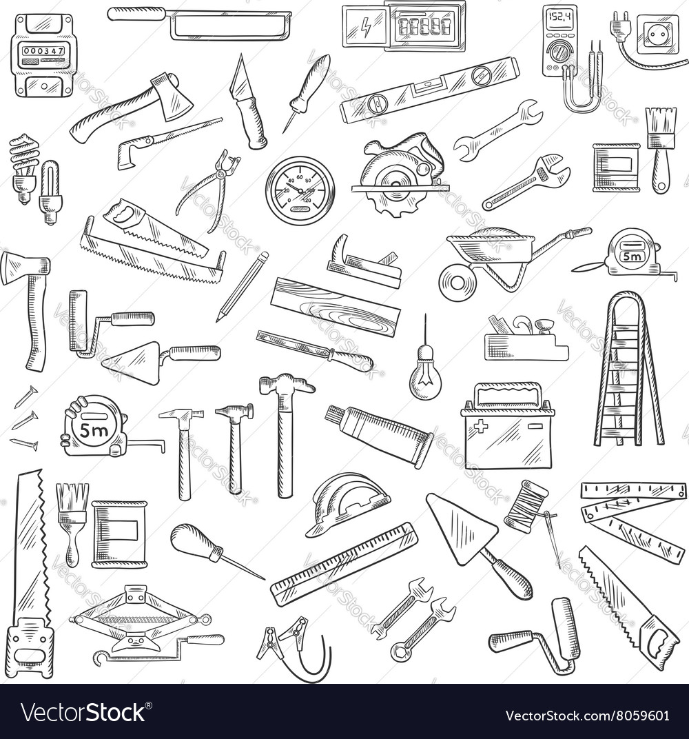 Construction tools and equipment objects vector