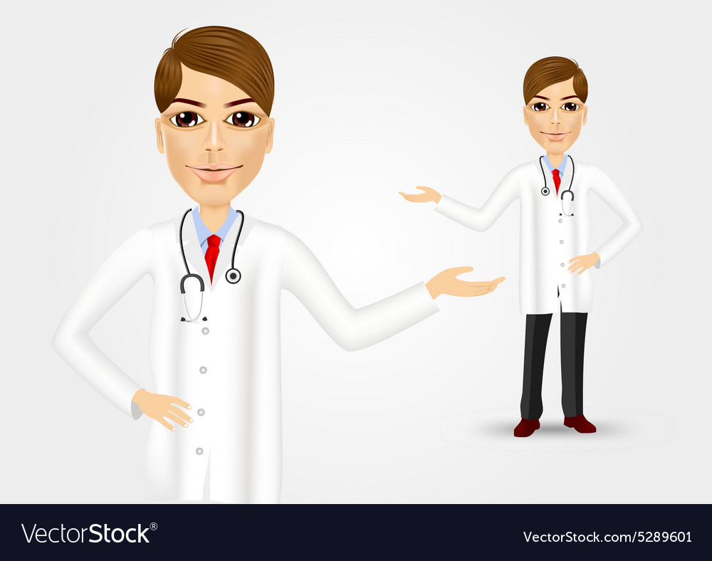 Young female doctor showing something vector