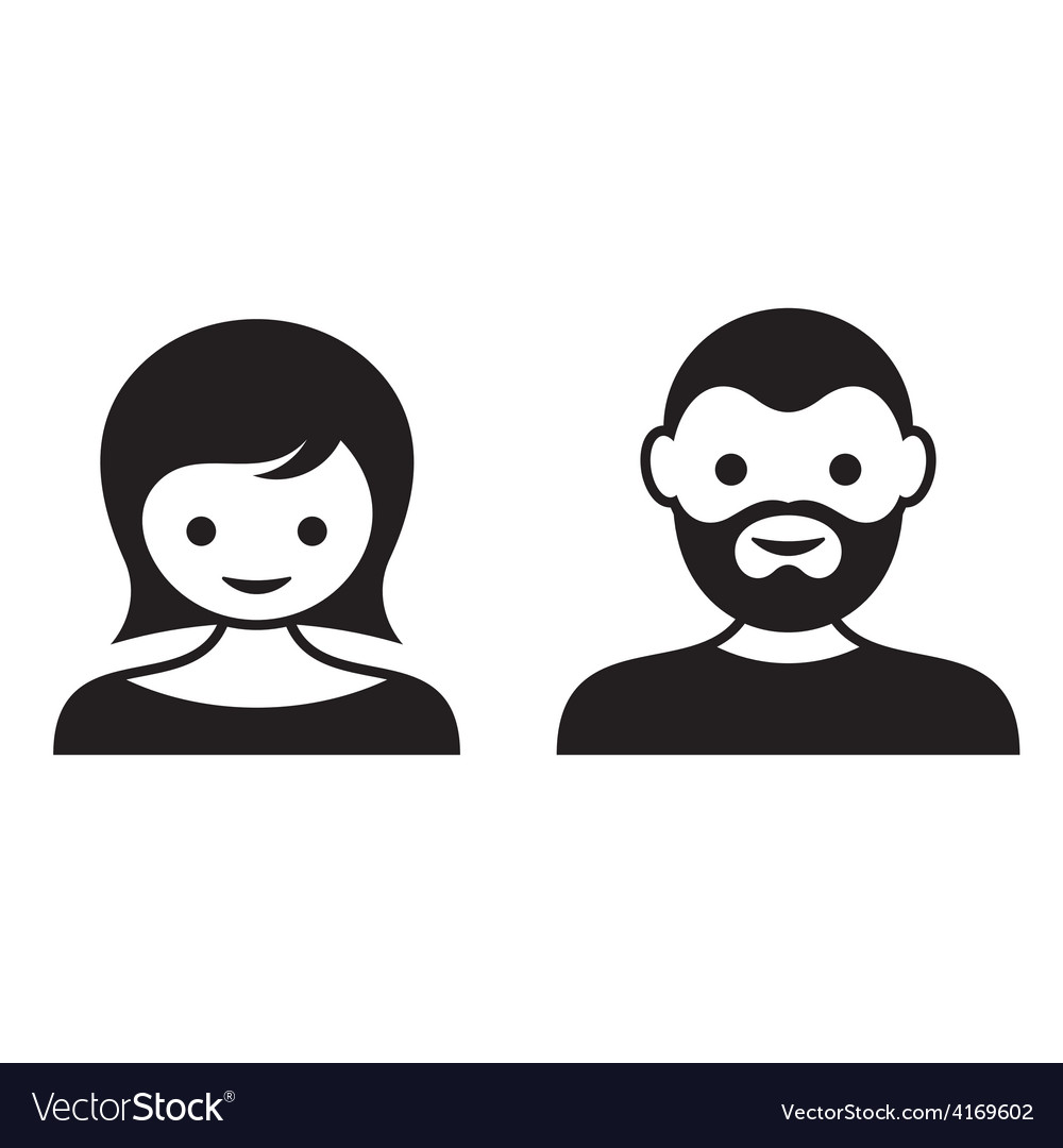 Man and woman face icons vector