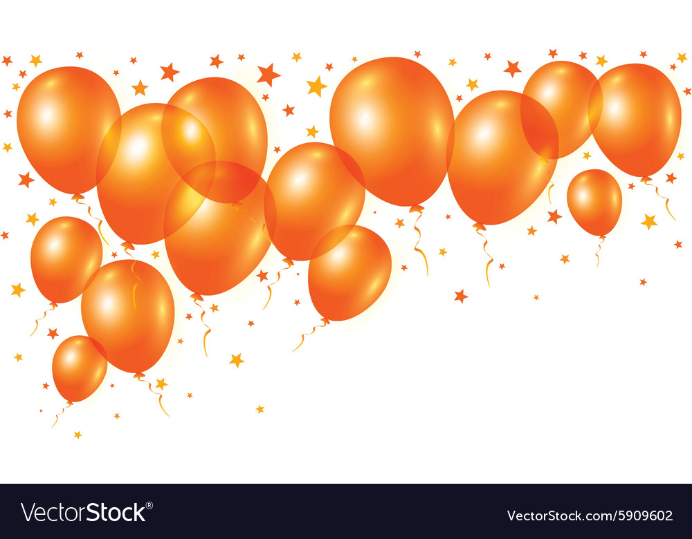 Orange balloons on white background vector