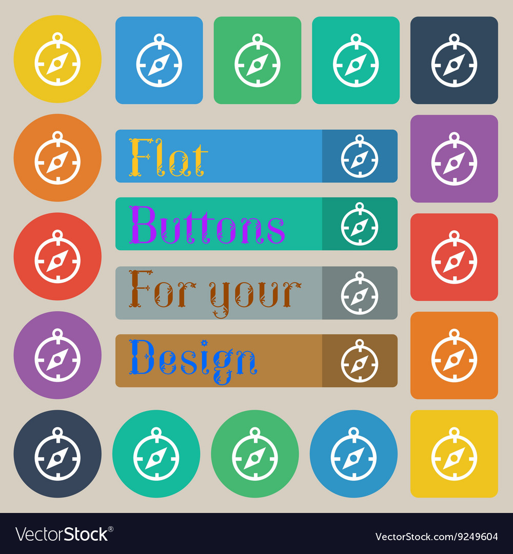 Compass icon sign set of twenty colored flat round vector