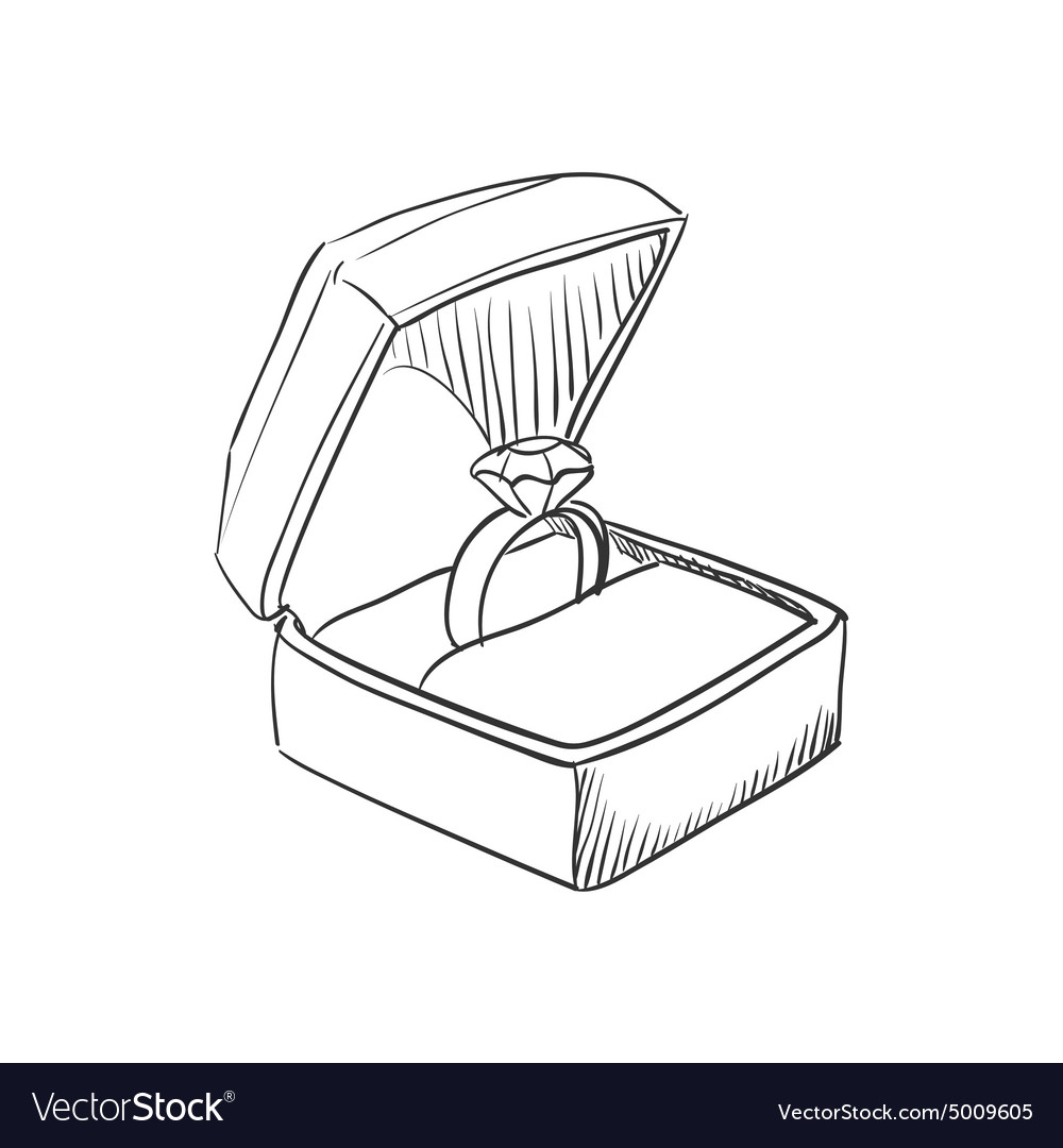 Doodle wedding ring vector