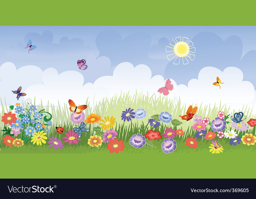 Flower meadow panorama vector