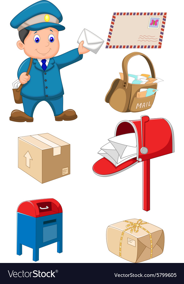 Mail carrier with bag and letter vector