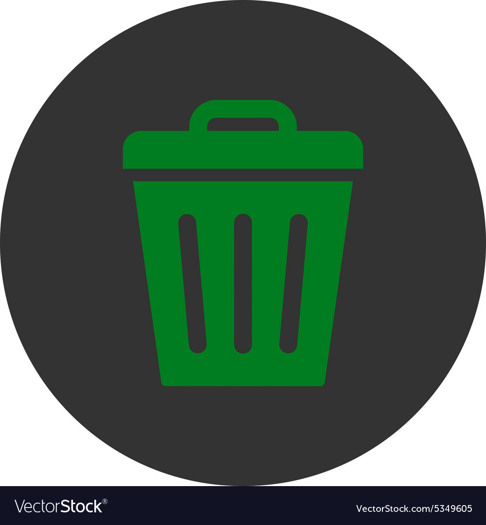 Trash can flat green and gray colors round button vector