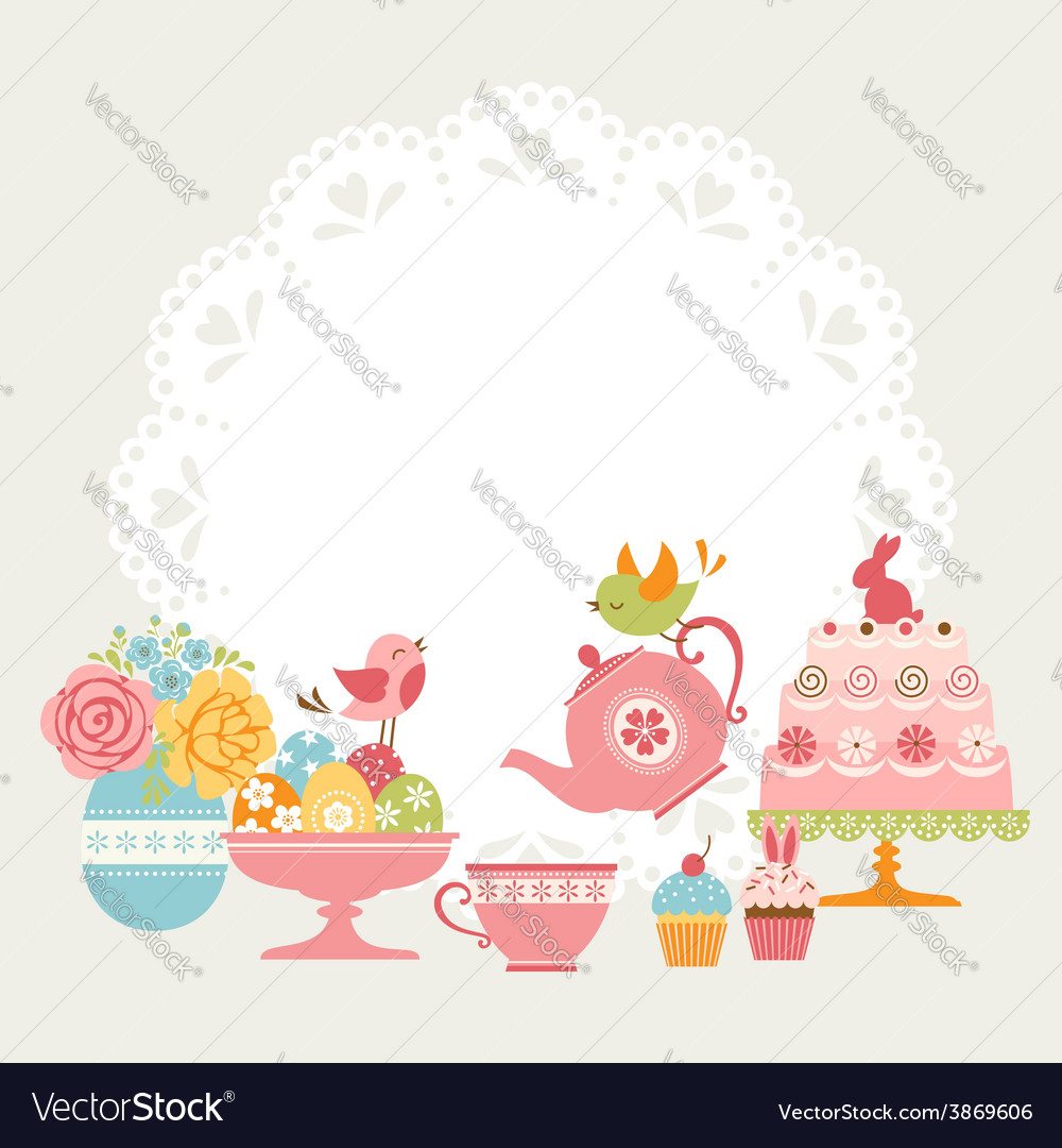 Easter tea party vector