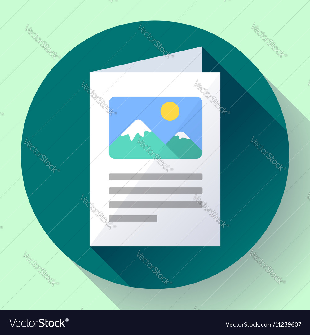 Flat brochure icon vector
