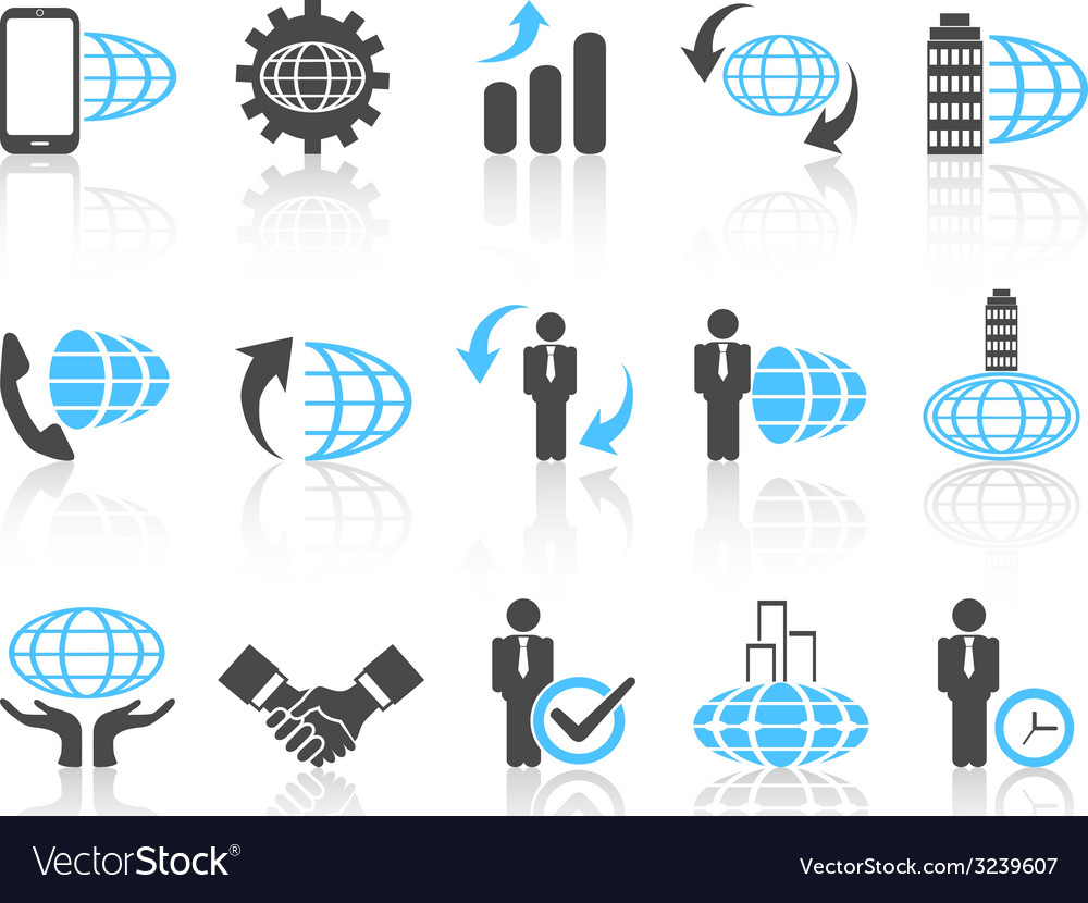 Global business icons blue series vector