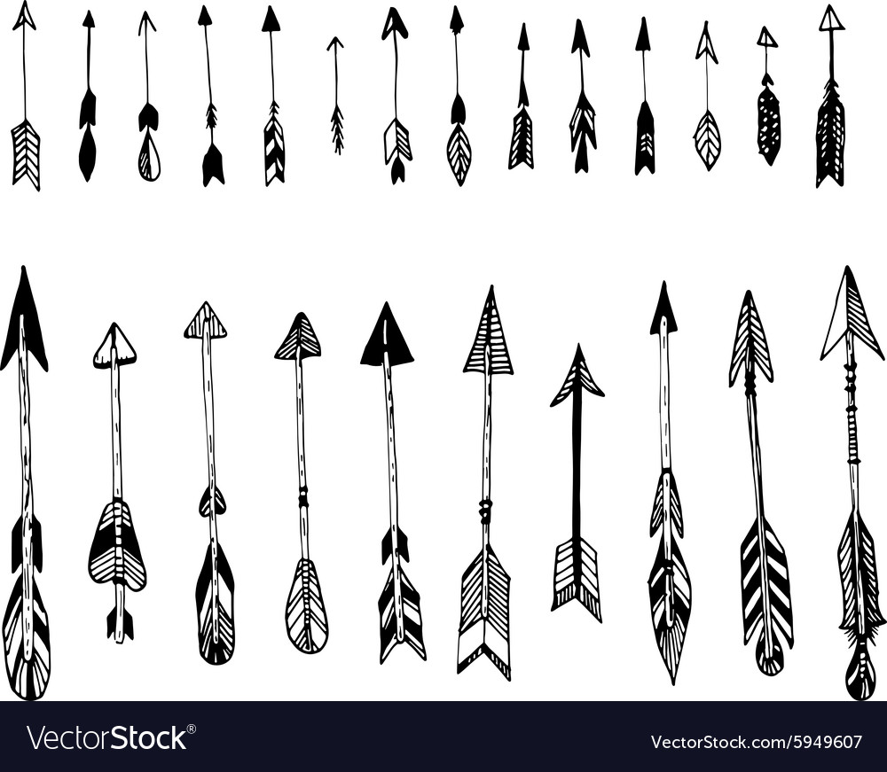 Set of hand drawn arrows ethnic arrow vector
