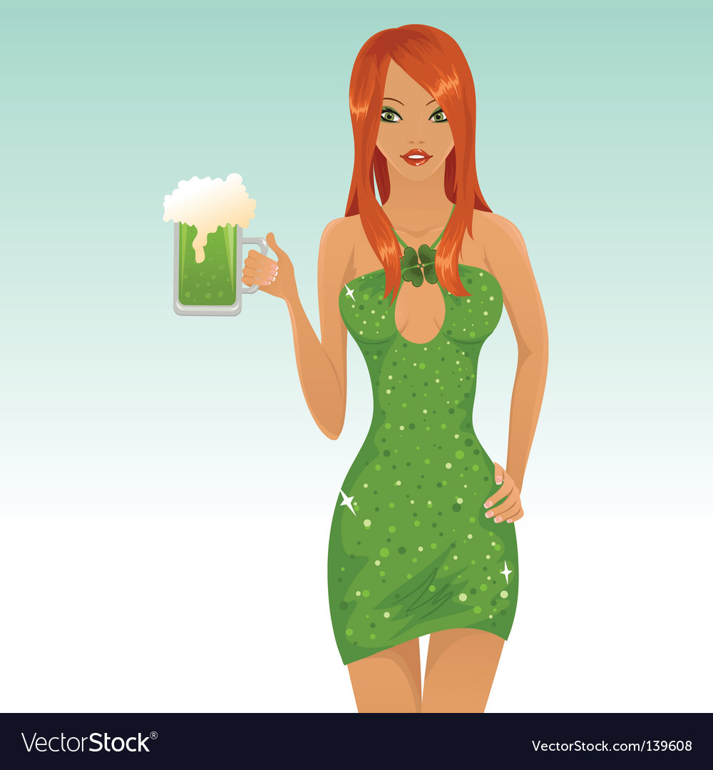 Cute leprechaun girl vector