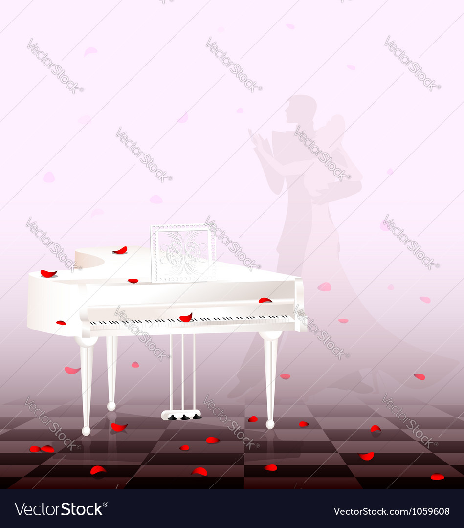 White piano and red petals vector