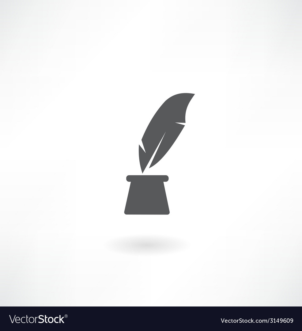 Pen and inkwell icon vector