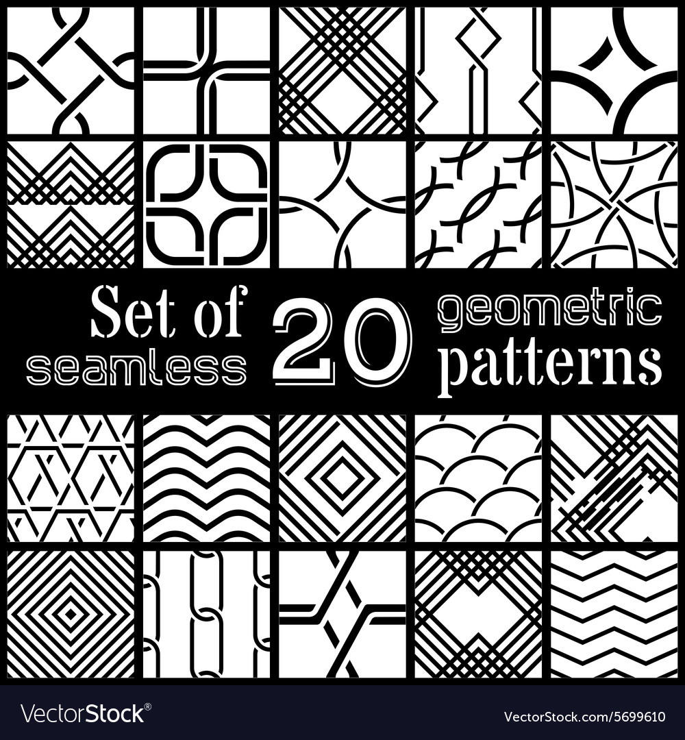 Set of 20 geometric seamless patterns vector