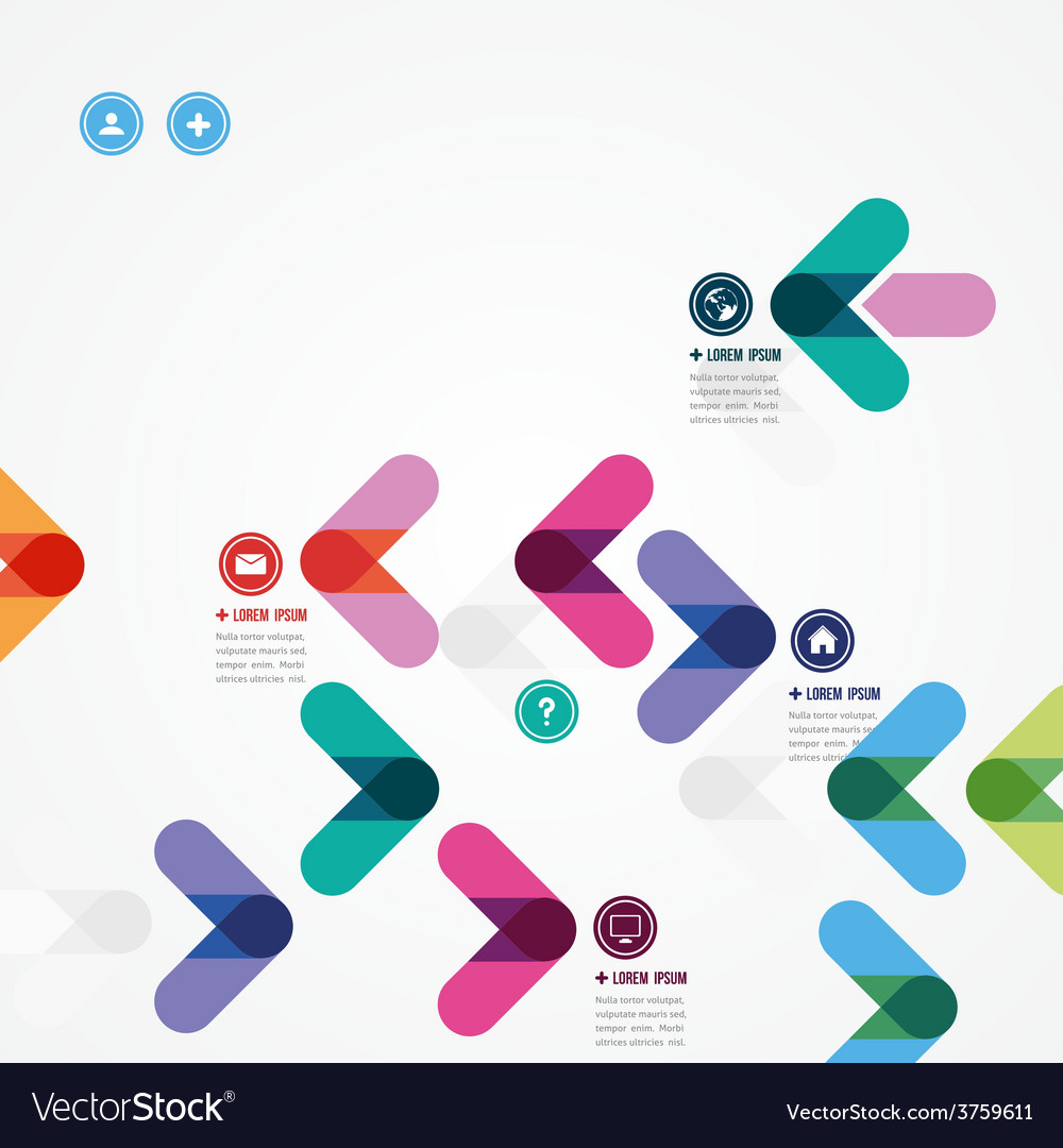 Design of a template with colorful arrows vector