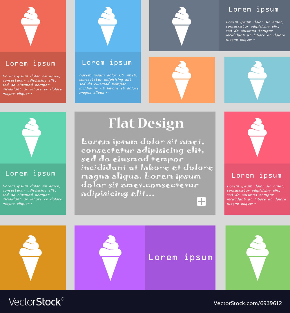 Ice cream icon sign set of multicolored buttons vector