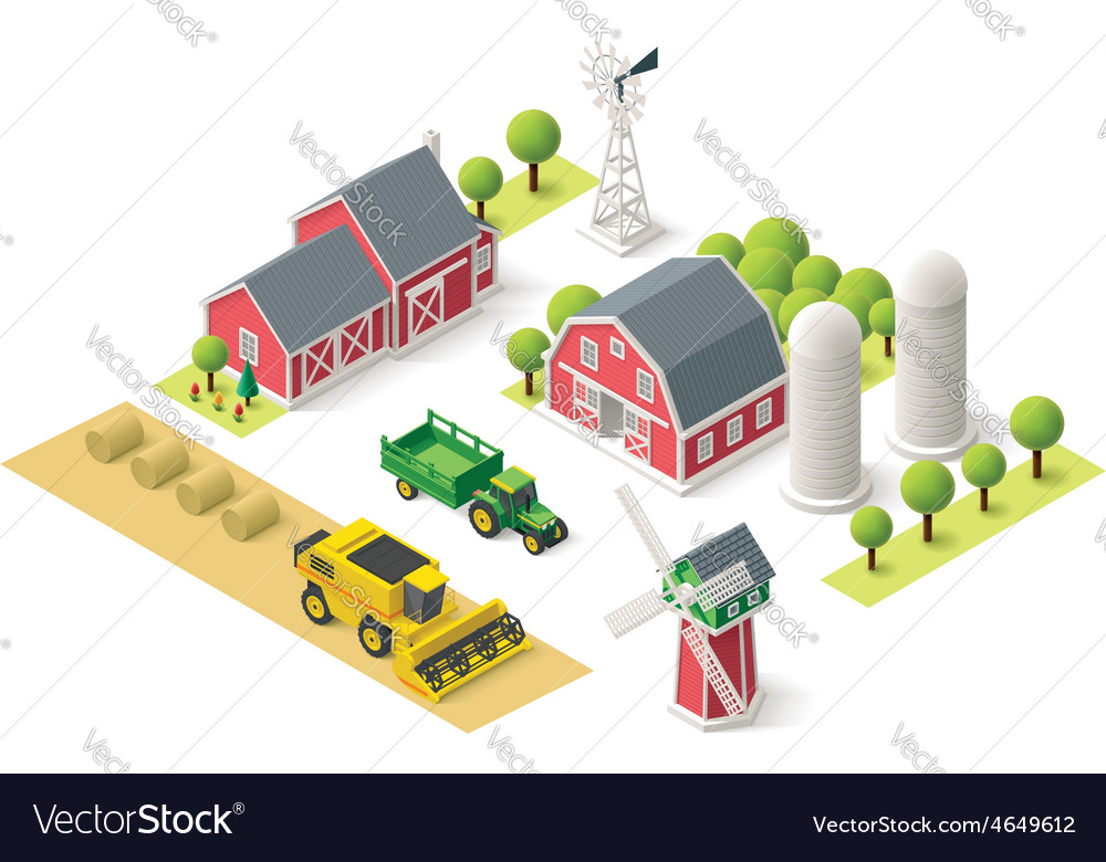 Isometric farm set vector