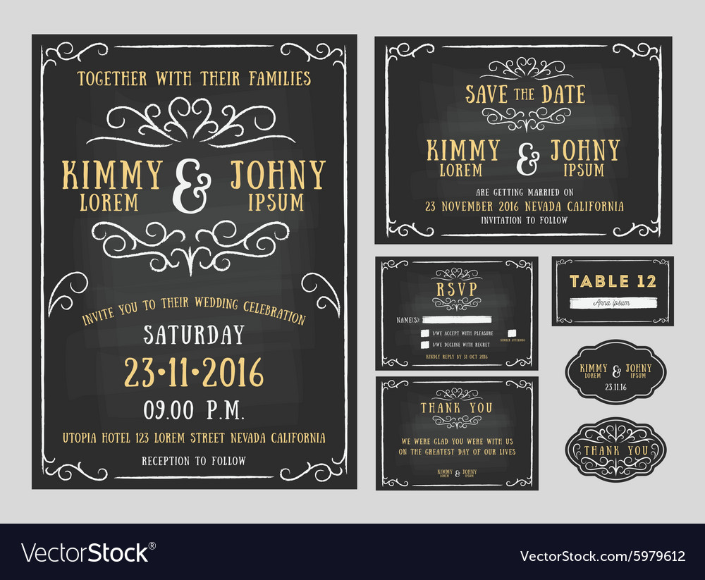 Wedding invitation chalkboard design with flourish vector