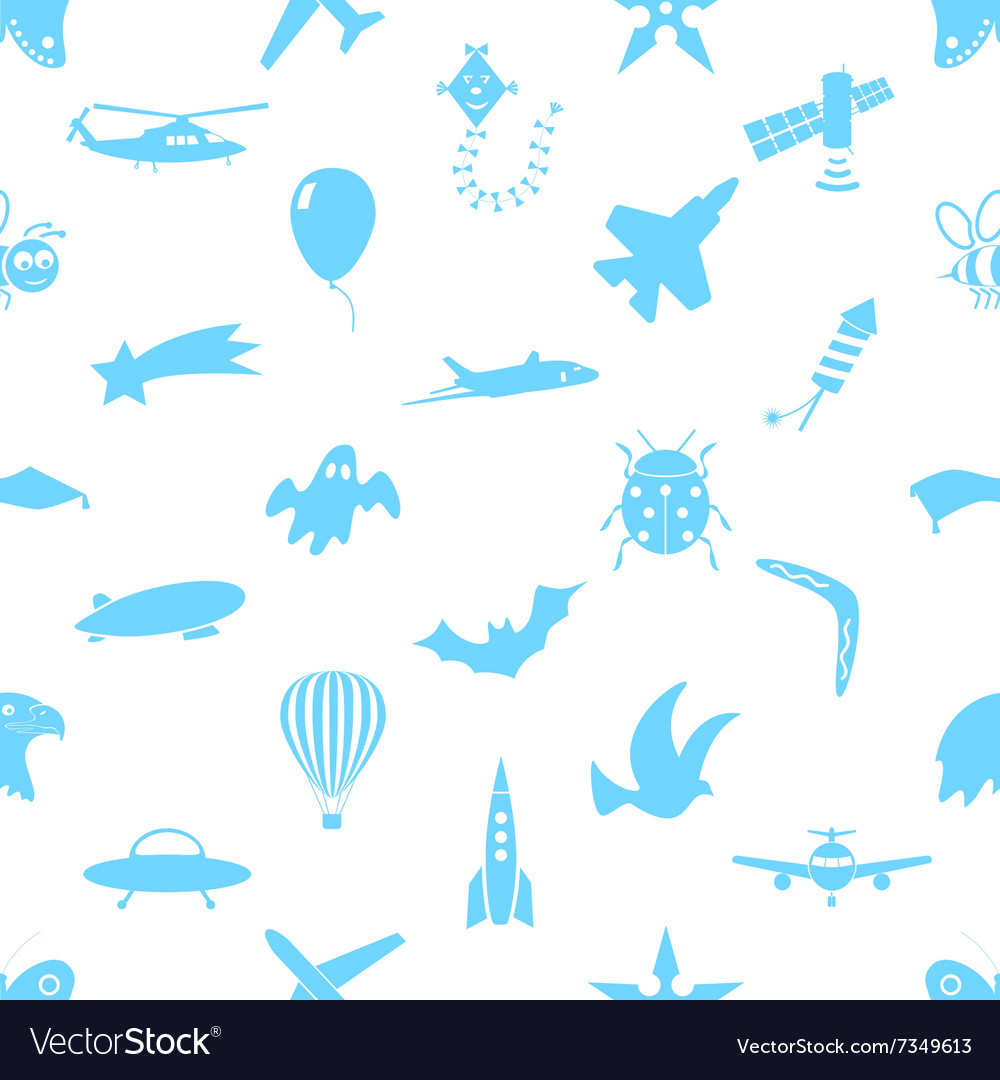 Flying theme theme symbols and icons seamless vector