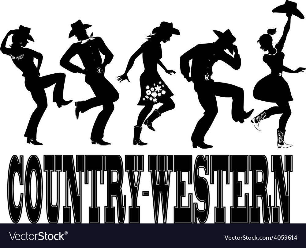 Countrywestern dance silhouette banner vector