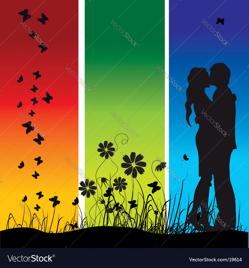 Couple kisses on a meadow vector
