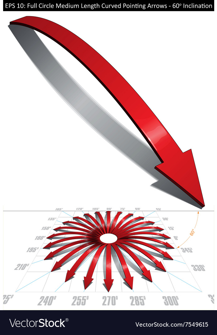Full circle medium length curved pointing arrows vector