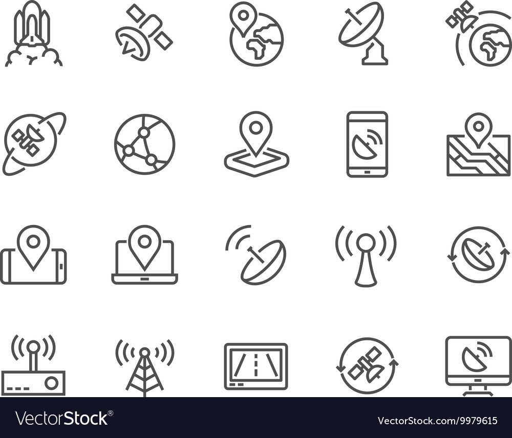 Line satellite icons vector