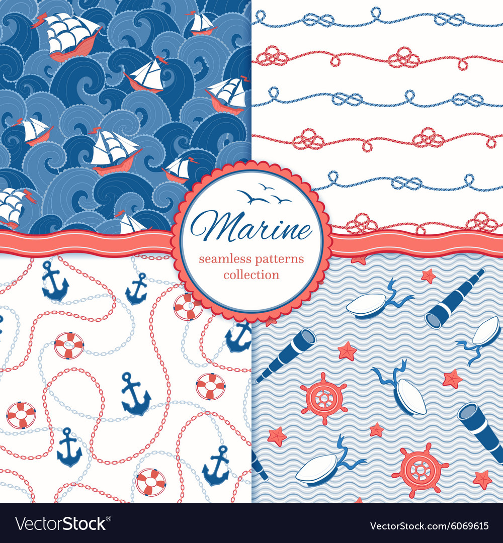 Marine patterns set vector