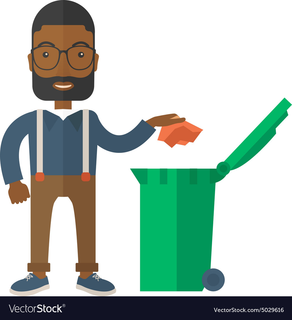 Black man throwing paper in a garbage bin vector