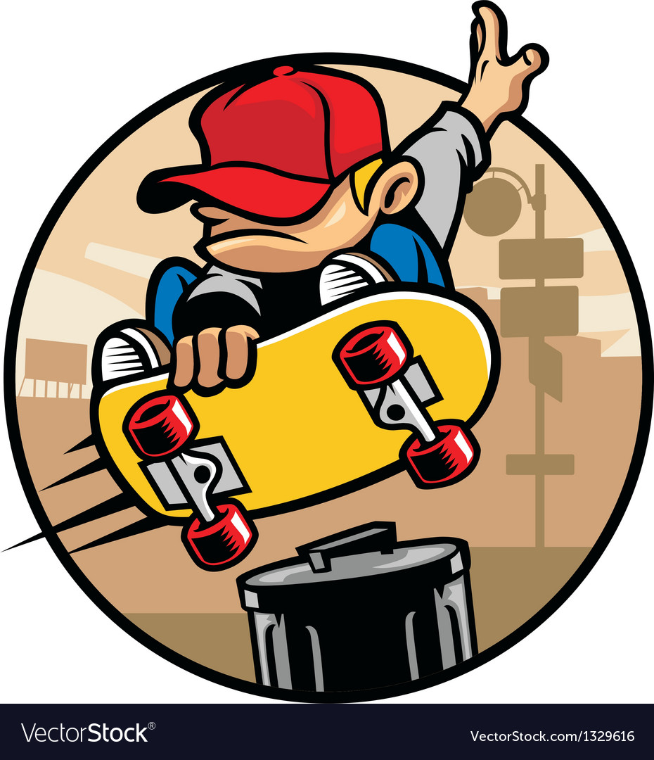 Skater boy doing a jump ollie vector