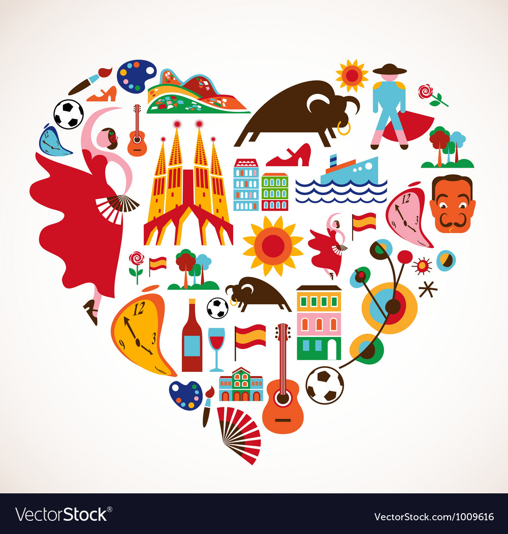 Spain love  heart with set of icons vector