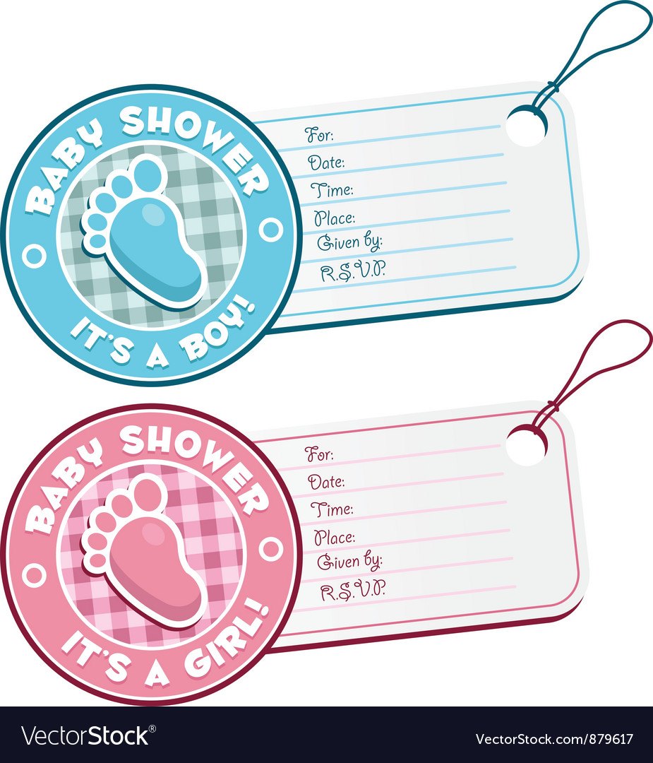 Baby shower foot invitation tags vector