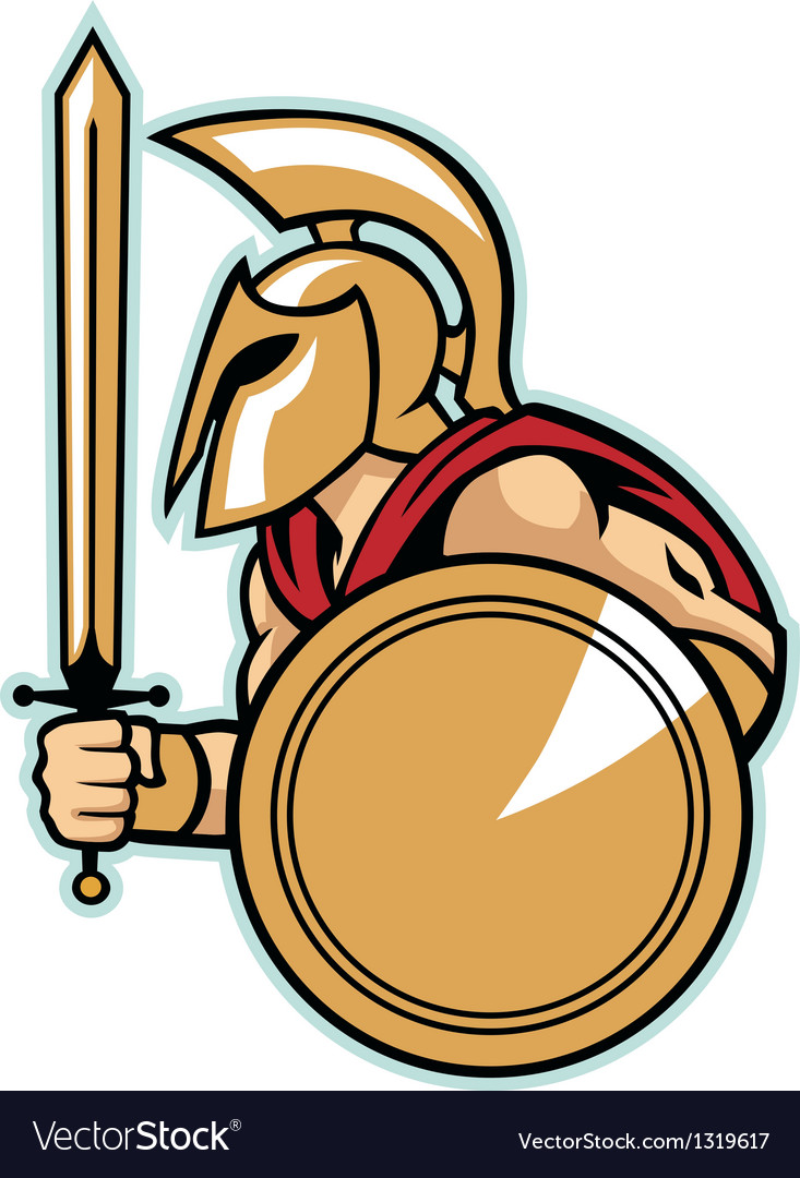 Spartan army with shield vector