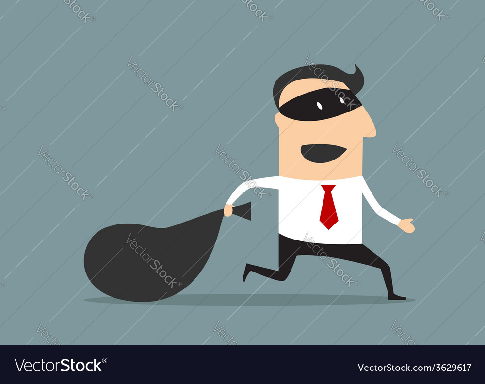 Thief businessman carrying money bag vector